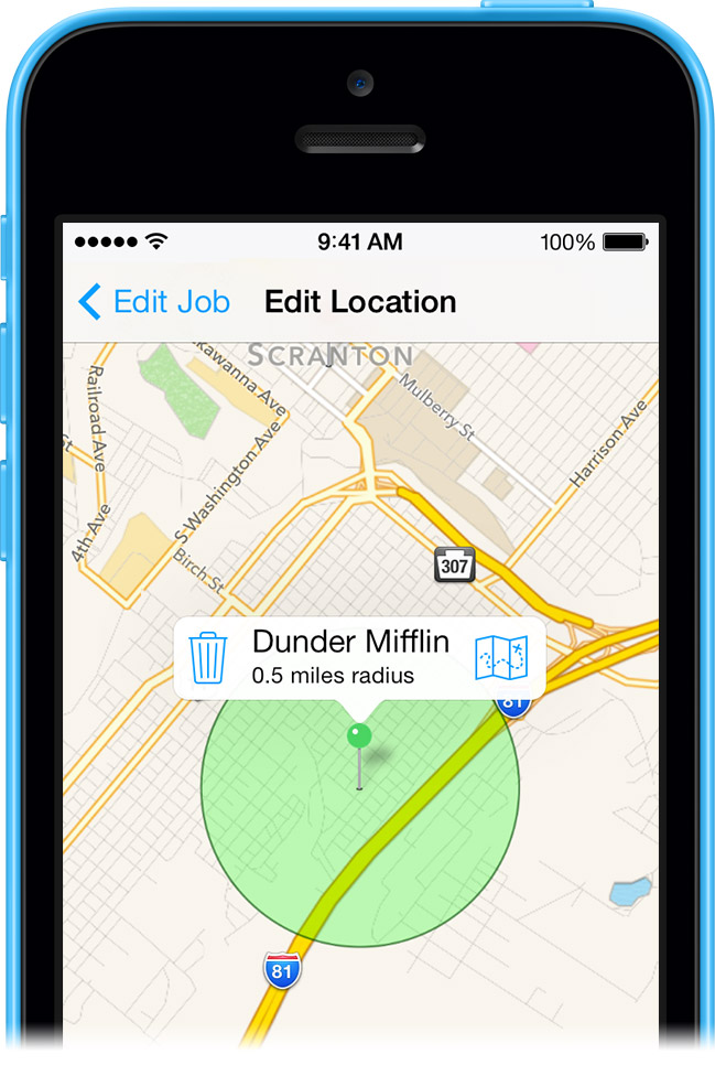 Location Awareness lets you clock in and out as you arrive and leave your job locations.